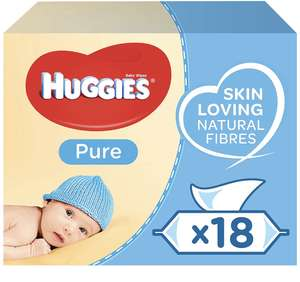 Huggies Pure Baby Wipes (18 Packs 1008) £10.50 Prime / £14.99 nonPrime @Amazon