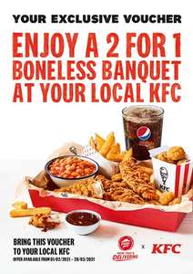 Purchase a Large Popcorn Pizza @ Pizza Hut and get a 2 for 1 voucher for Boneless Banquet at KFC