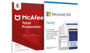 Microsoft 365 Family - Up to 6 users & McAfee Total Protection - Multiple PC's/Mac's, Tablets and Phones - 1 Year £43.94 delivered @ Argos