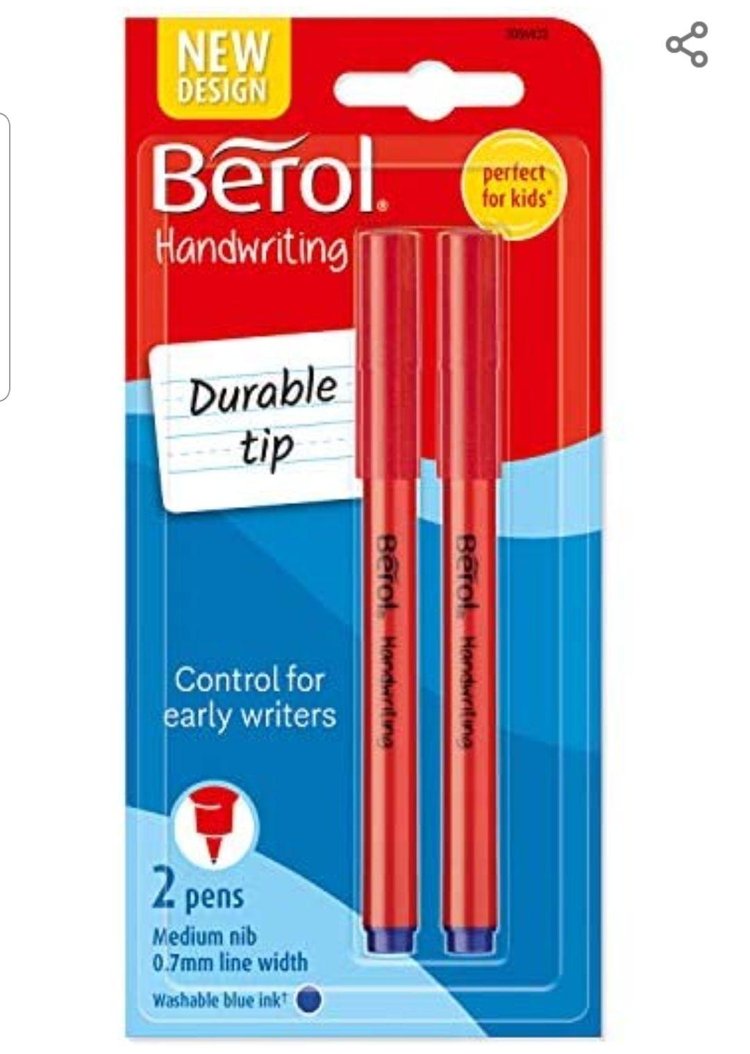 Berol Handwriting Pens Round Shape, Washable Blue Ink, Bright Barrels, 2 Count £1.75 prime / £6.24 nonPrime @ Amazon
