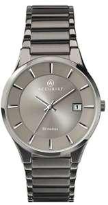 Accurist Mens Stainless Steel Watch With Sunray Dial, Date Window, Push Button Fold Over Clasp £39.95 at Amazon