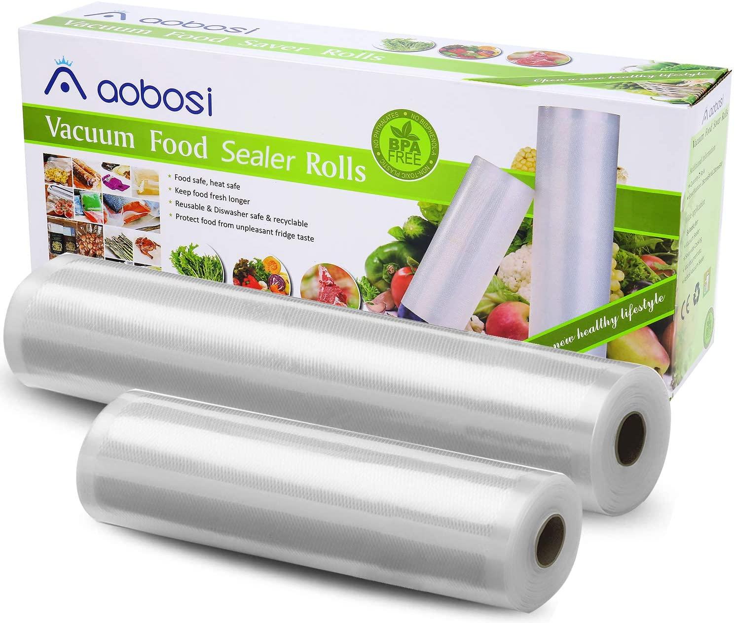 Aobosi Recyclable Vacuum Sealer Bags Vacuum Food Sealer 2 Pack Roll 20cmX6m and 28cmX6m - £9.59 (+£4.49 NP) @ Sold by Sibake EU and FBA