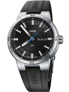 Oris Mens TT1 Automatic Day Date Black Rubber Strap Watch £895 @ TH Baker