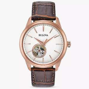 Bulova 97A133 Men's Automatic Heartbeat Leather Strap Watch, Brown/White - rose gold openheart £99 John Lewis & Partners