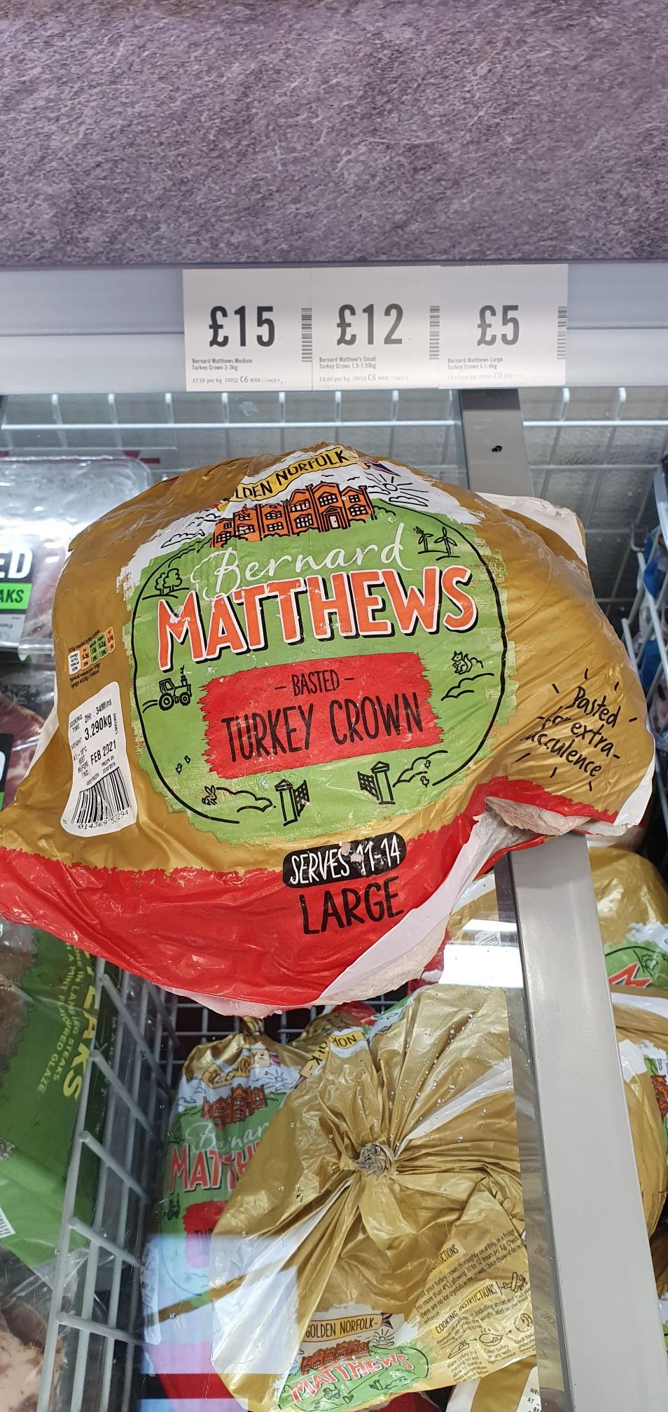 Bernard Matthews large Turkey crown £5 in store at Iceland Stoke on Trent