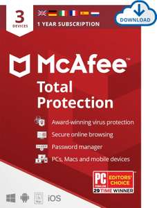 McAfee Total Protection 2021 | 3 Device | 1 Year | Antivirus Software Download Code - £11.49 @ Amazon