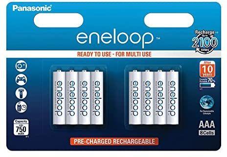 Amazon Prime Panasonic Eneloop 8 pack AAA 750mAh Rechargeable Batteries £15.99 Prime at Amazon (+£3.49 non Prime)