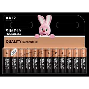 Duracell 12 pack of AA or AAA batteries £3.99 + £1.49 delivery at home bargains online