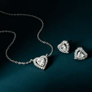 Premium Sterling Silver Heart Halo Jewellery Set Now Just £17.99 with Delivered with code From John Greed Jewellery