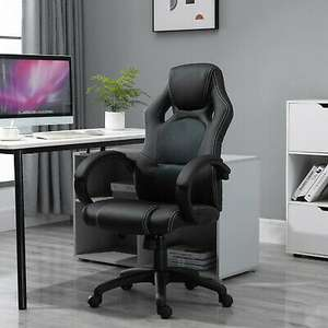 HOMCOM Office Racing Chair Gaming Swivel PU Leather Computer Seat Home Office with code @ mhstarukltd ebay