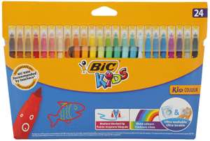BIC Kids Kid Couleur Felt Tip Colouring Pens Ultra Washable Assorted Colours Cardboard Wallet of 24 - £2.50 prime / £6.99 nonPrime Amazon