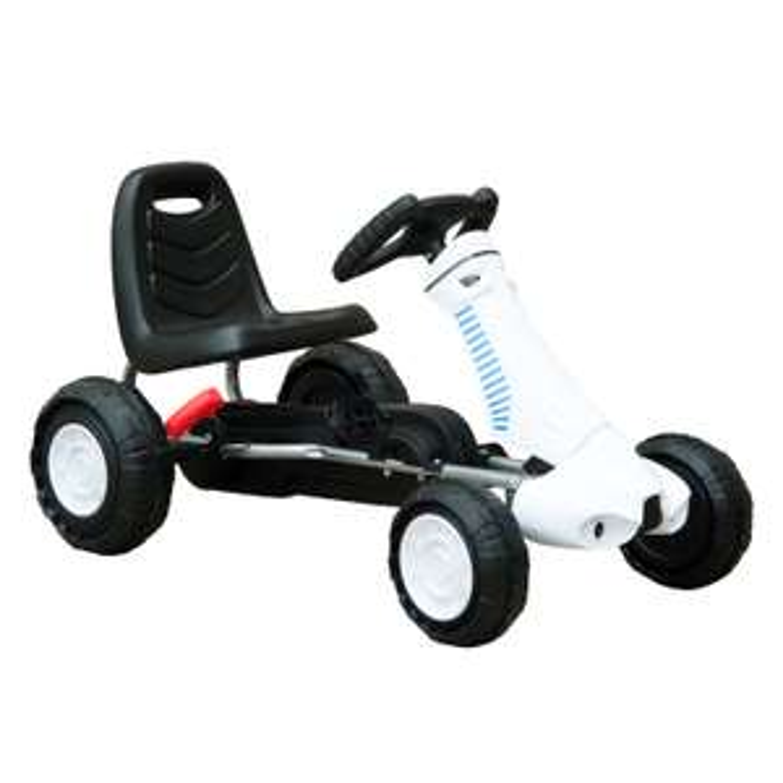 HOMCOM Pedal Go Kart with rubber strip on wheels in white and black for £34.84 delivered using code @ eBay / mhstarukltd