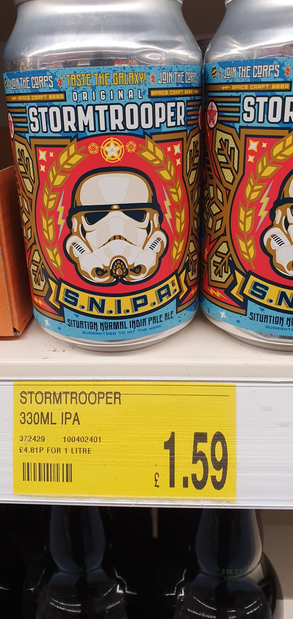 Stormtrooper S.N.I.P.A 330ml cans £1.59 at B&M Lowestoft High Street
