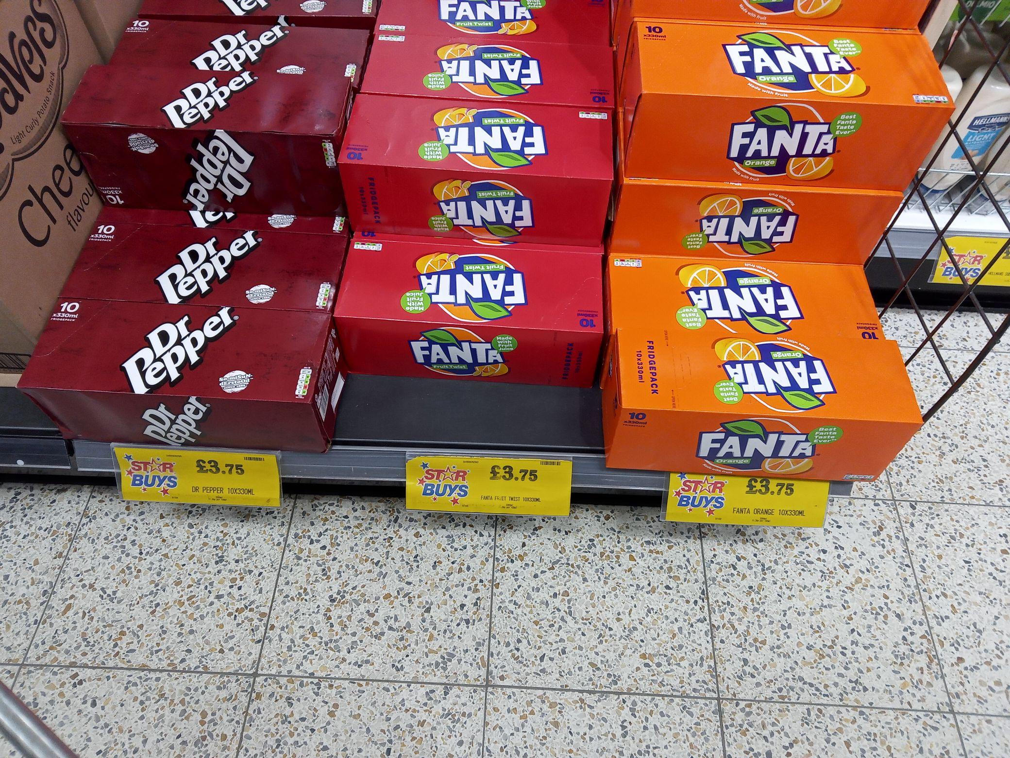 10 Pack of 330ml Fanta & Dr Pepper Cans - £3.75 @ Home Bargains (Norfolk)