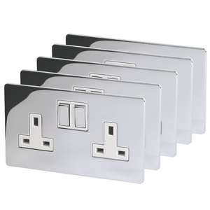 5 pack Lap 13a 2-gang switched plug sockets polished chrome £19.46 + £5 delivery- Screwfix