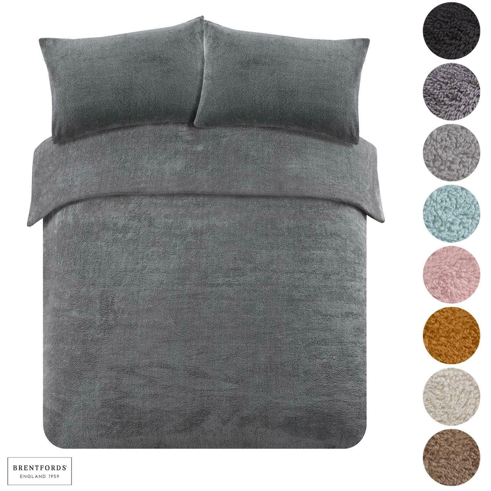 Brentfords Teddy Fleece Thermal Warm Single-SuperKing Bedding Sets 8 Colours £13-£20 Delivered onlinehomeshop/eBay