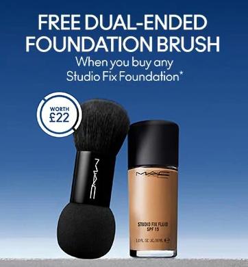 Free foundation brush, worth £22, with any StudioFix Foundation @ Mac Cosmetics