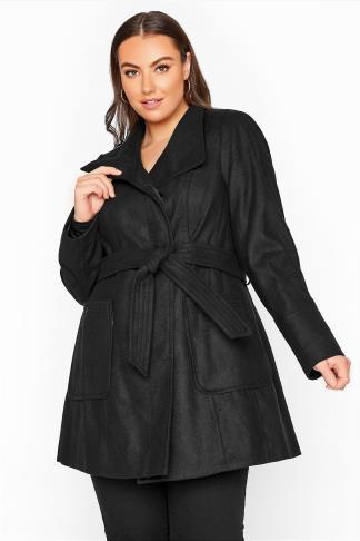 Black Belted Coat £21.98 Delivered @ Yours Clothing