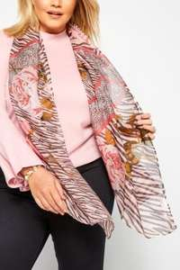 Blush Pink Mixed Animal & Floral Print Scarf £3.98 Delivered @Yours Clothing