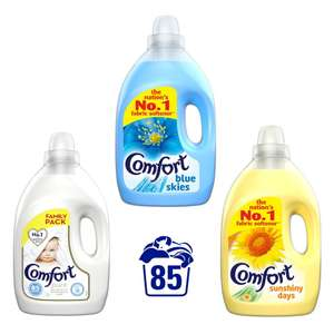 Comfort Pure / Blue / Sunshiny Days Fabric Conditioner 85 Wash 3L for £3 each (Clubcard, Min Spend / Delivery Fee Applies) @ Tesco