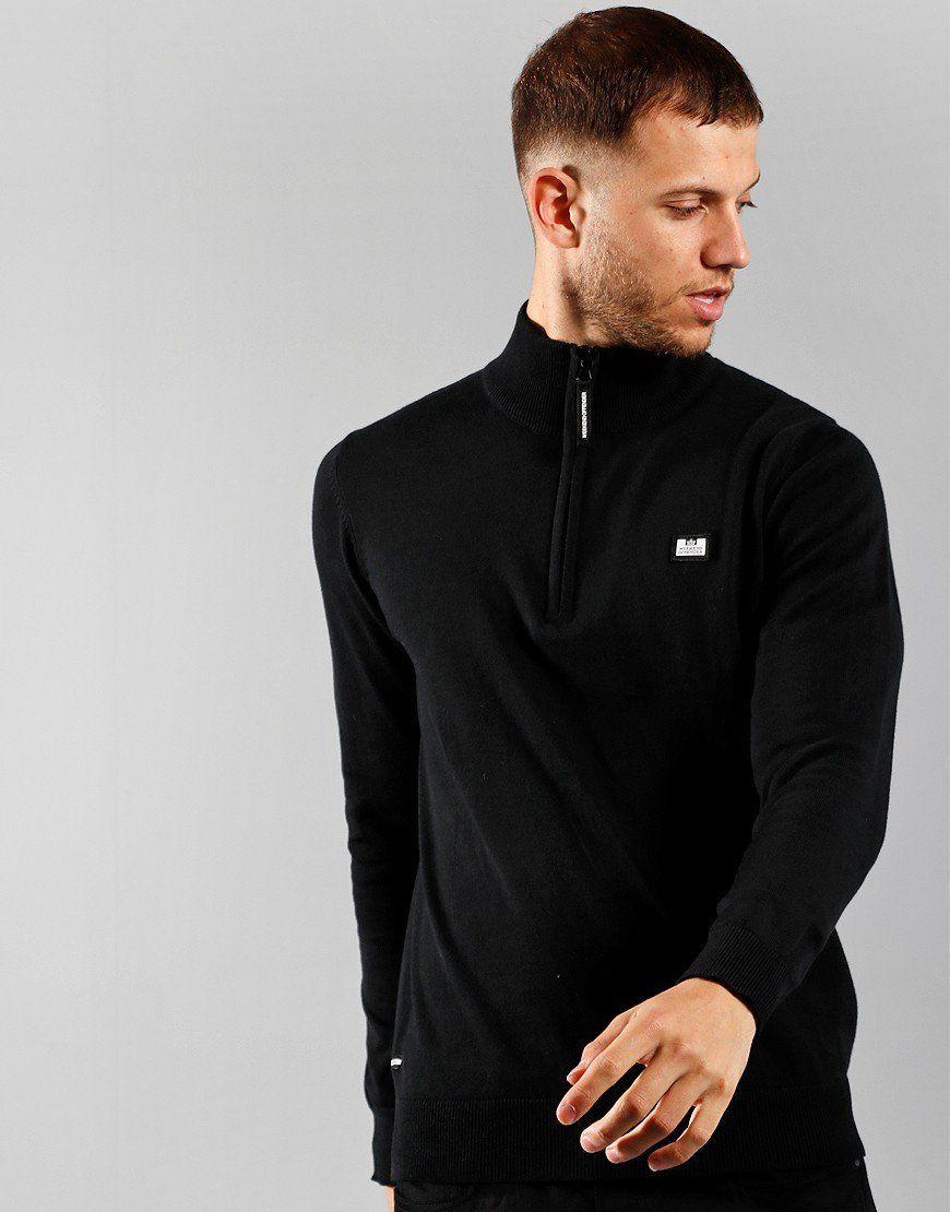 Weekend Offender Vandium Half Zip Knit Black - £19.50 + £2.49 Delivery @ Terraces Menswear
