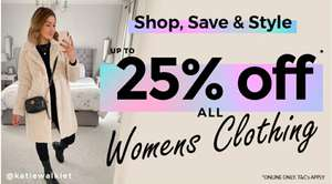Up to 25% 0ff all women's clothes at Peacocks - £3.99 delivery / free over £20