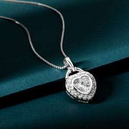 Premium Sterling Silver CZ Heart Halo Pendant Necklace £10.99 with Code From John Greed