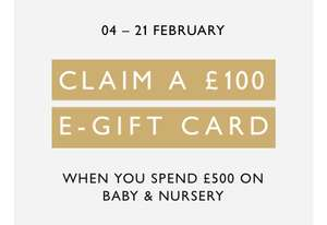 £100 e-gift card back with £500 spent on Baby & Nursery at John Lewis & Partners