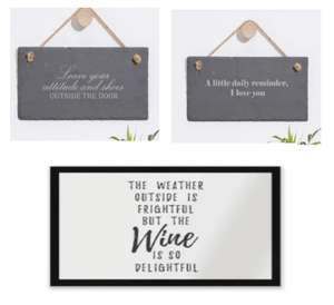 Entrance Mat & Slate Hanging Sign Bundle £19.99 with Free Delivery with Code From IWOOT