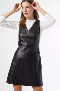 Black PU Pinafore Dress £6.40 (Free Next Day Delivery With Code) @DorothyPerkins