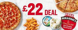 2 Large Pizzas, 1 Side and 1 Ice Cream for £22 @ Pizza Hut