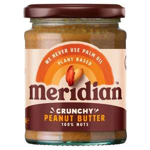 Meridian Peanut Butter Crunchy or Smooth 100% Nuts 280G - £1.25 (Min Spend & Delivery Fee Applies / Clubcard Price) @ Tesco