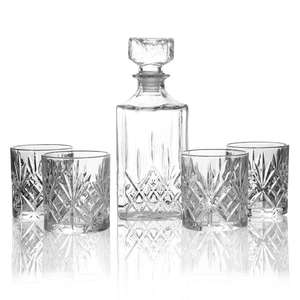 Set of 4 Tumbler Set & Whiskey Decanter   M&W £5.99 + £2.95 delivery at Roov