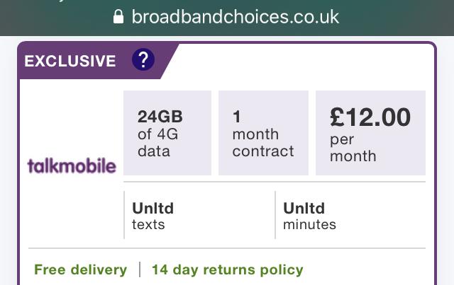 Voda4G TalkMobile 24GB/Unlimiteds 30 day sim £12 @BroadbandChoices