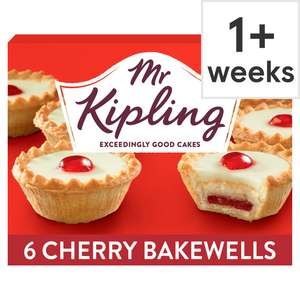 Mr Kipling Cherry Bakewells 6 Pack - 85p ( Min Spend & Delivery Fee Applies / Clubcard Price) @ Tesco