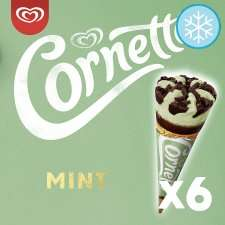 Cornetto Classic / Mint or Strawberry Ice Cream Cones 6X90ml - £1.50 ( Min Spend & Delivery Fee Applies / Clubcard Price) @ Tesco