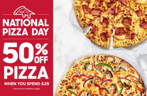 50% off Pizza when you spend £25 @ Pizza hut
