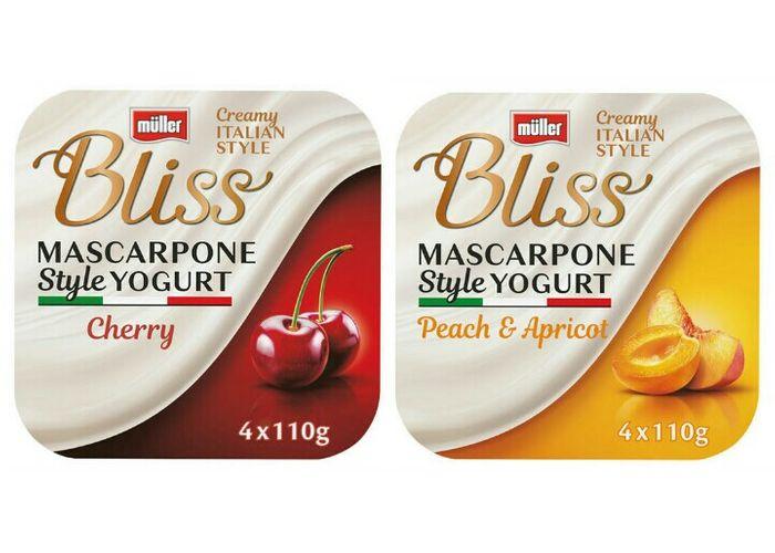 Muller Bliss Creamy Mascarpone, Peach & Apricot Yogurt 4 x 110g £1 (Minimum Basket / Delivery Fees Apply) @ Morrisons