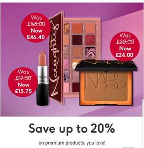 Save up to 20% on premium beauty'Huda beauty NARS EsteeLauder IT, Lancôme,Lizarley Clinique (+£3.50 delivery free when spend £30) @ Boots