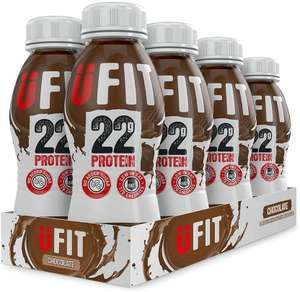 UFIT High 22g Protein Shake, No Added Sugar, Low Fat – Chocolate Flavour (Pack of 8 x 310ml) - £8 Prime + £4.49 Non Prime @ Amazon