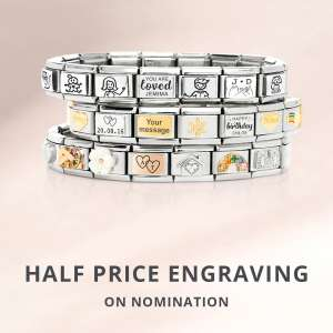 Free Nomination Bracelet when you spend £35 on Nomination classic charms + Half Price Engraving + Free Delivery @ John Greed Jewellery