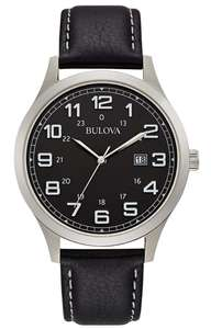 Bulova Men's Black Leather Strap Watch, £49.99 + £3.95 delivery at Argos