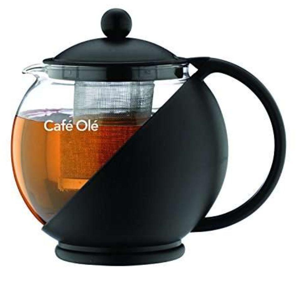 Café Ole Everyday Round Tea Pot Infuser Basket Glass Teapot Loose leaf Black 700 ml/24 oz - £4.99 Prime / +£4.49 non prime @ Amazon
