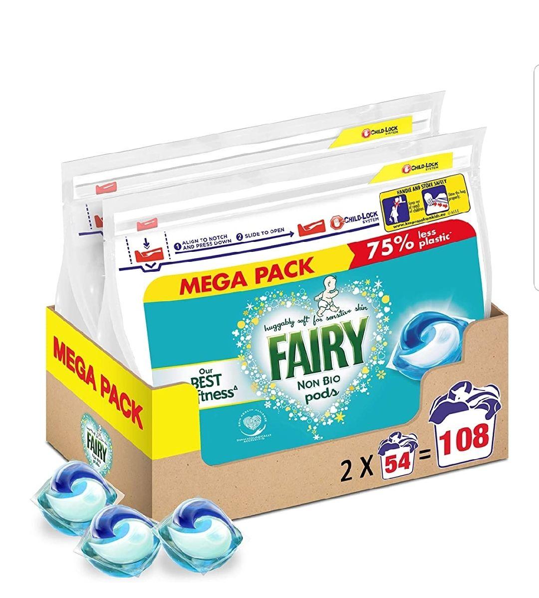 Fairy Non-Bio Pods Washing Liquid Laundry Detergent 108 Washes (54 x 2) £19.06 prime / £23.55 nonPrime / 18.11 s&s at Amazon
