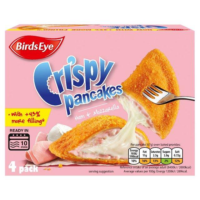 Birds Eye 4 Crispy Pancakes Ham & Mozzarella 266g or Minced Beef & Onion 266g - £1 each (+ Delivery Charge / Minimum Spend Applies) @ Adsa