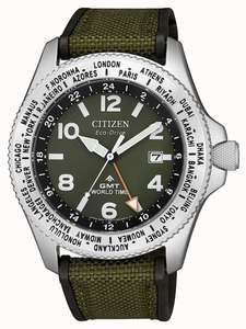 Citizen Mens Eco-Drive Promaster GMT Green Canvas Strap Green Dial Watch £165 at First Class Watches
