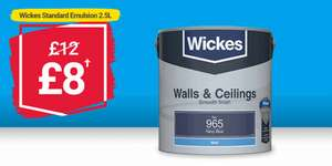 Wickes Paint offers - Dulux and Wickes own brand reduced, including endurance / kitchen paints from £8 for 2.5L + £7.95 delivery
