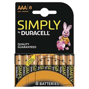 Duracell Simply Alkaline Batteries Micro AAA LR3 (8 Pack) £1.99 (+£4.49 NP) Delivered @ Amazon