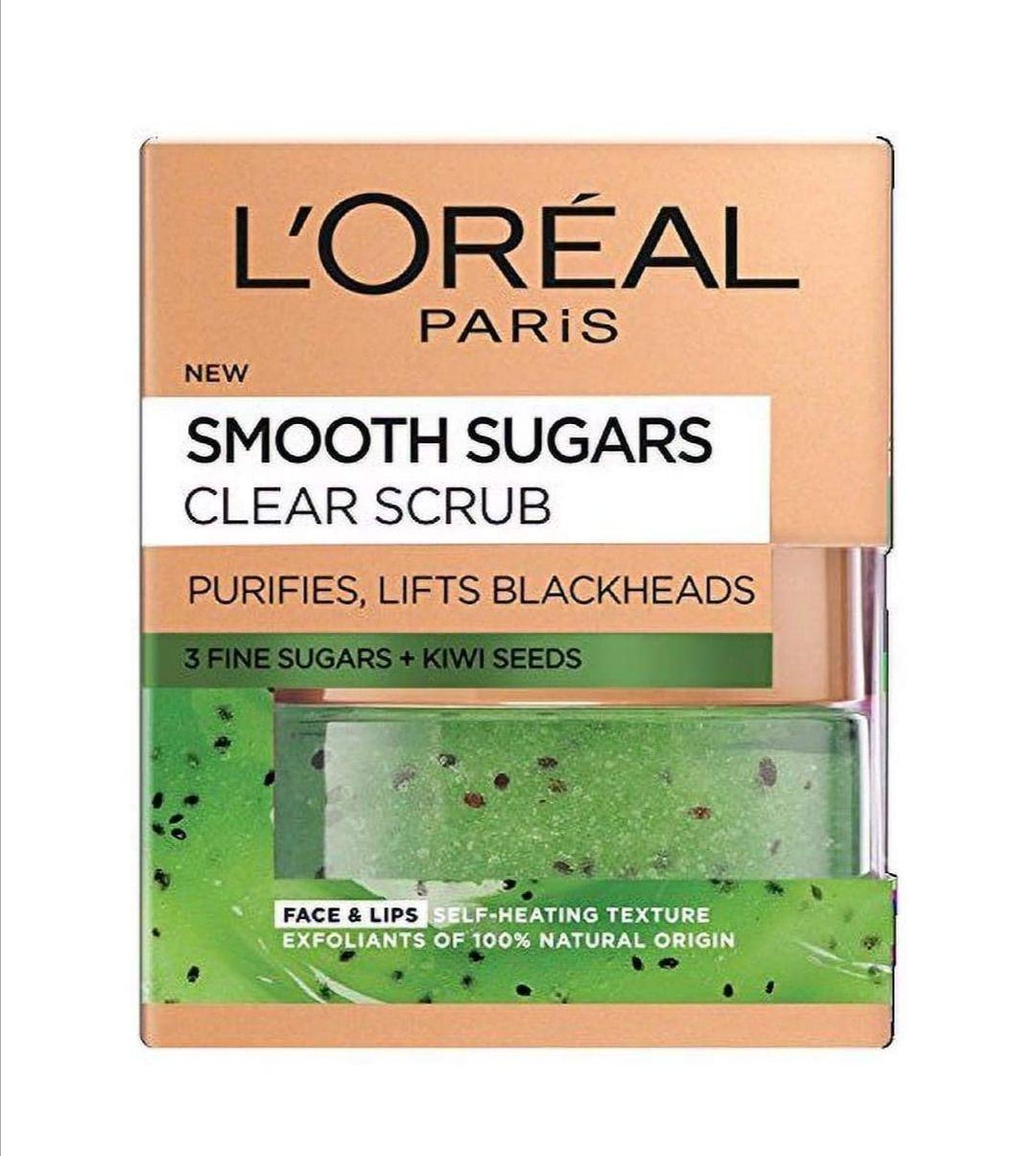 L'Oréal Paris Smooth Sugar Clear Kiwi Face & Lip Scrub (50ml) £5 @Prime / £9.49 Non Prime at Amazon
