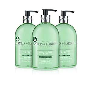 Baylis & Harding Aloe, Tea Tree and Lime Anti Bacterial Hand Wash, 500 ml, Pack of 3 - £6 Amazon Prime / £10.49 Non Prime